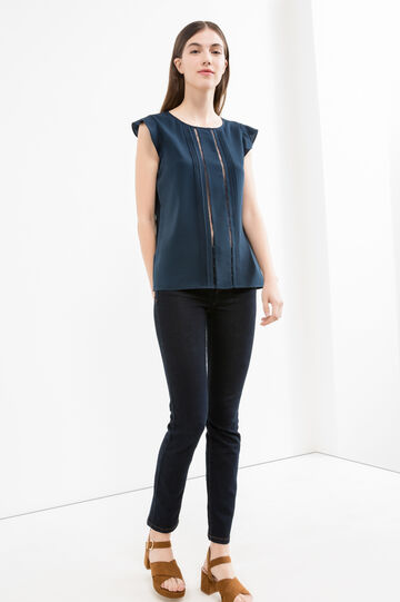 Solid colour blouse with pleating, Navy Blue, hi-res