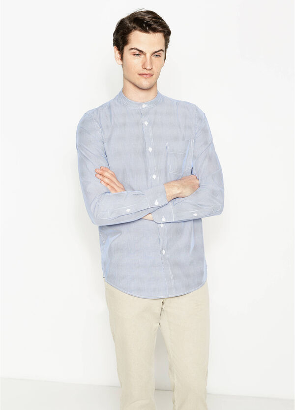 Casual striped shirt with mandarin collar | OVS