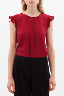 Blouse with teardrop opening, Radish Red, hi-res