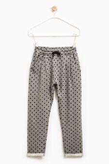 Pantaloni tuta in puro cotone, Grigio, hi-res