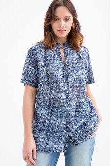 Curvy patterned blouse, Blue, hi-res