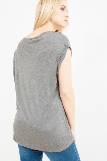 Curvy T-shirt in 100% printed viscose, Grey Marl, hi-res