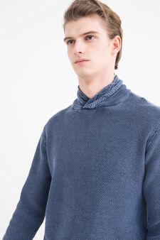 Solid colour 100% cotton pullover, Blue, hi-res
