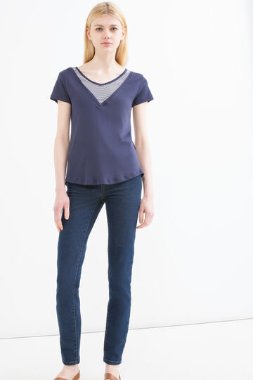 Faux layered 100% cotton T-shirt, Blue, hi-res
