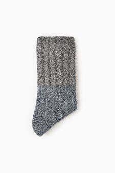 Solid colour wool blend short socks, Blue/Grey, hi-res
