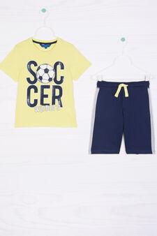 Printed T-shirt and Bermuda shorts set, Multicolour, hi-res