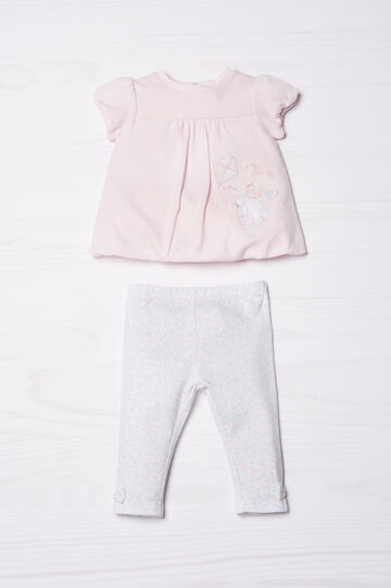Patterned outfit in 100% cotton, Pink, hi-res