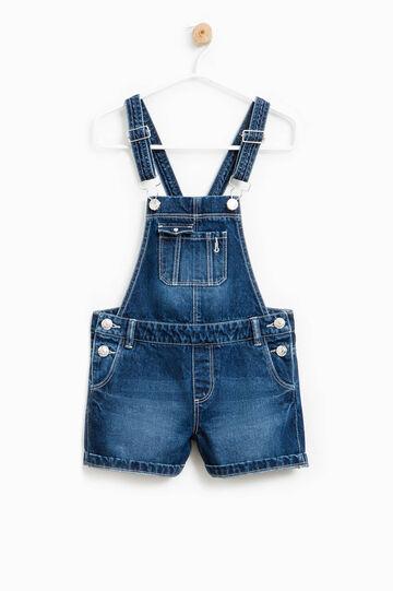 Salopette corta di jeans effetto used, Denim, hi-res