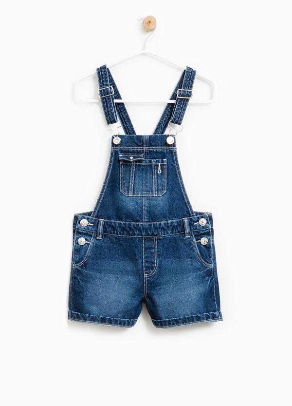 Salopette corta di jeans effetto used | OVS