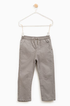 Cotton blend joggers with drawstring, Grey, hi-res
