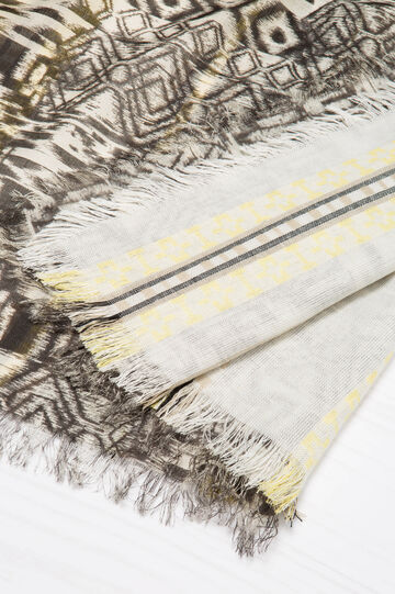 100% viscose scarf with ethnic pattern, White/Yellow, hi-res
