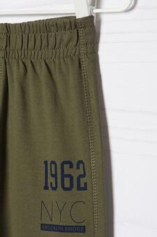 Pantaloni tuta puro cotone con stampa, Verde, hi-res