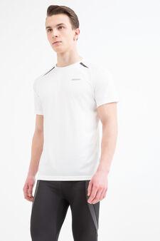 T-shirt sportiva con scollo rotondo, Bianco, hi-res