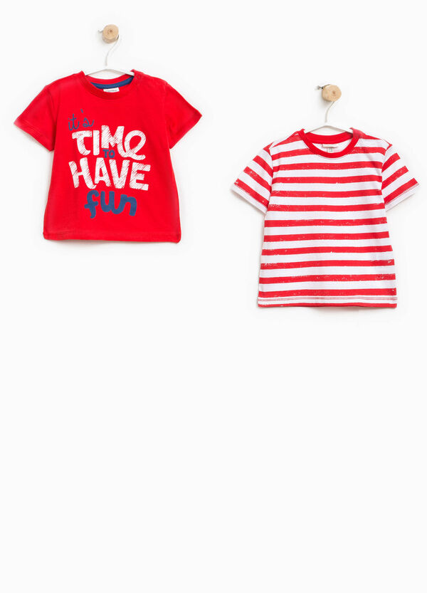 Two-pack solid colour and striped T-shirts | OVS