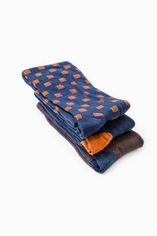 Three-pair pack solid colour and patterned long socks, Dark Orange, hi-res