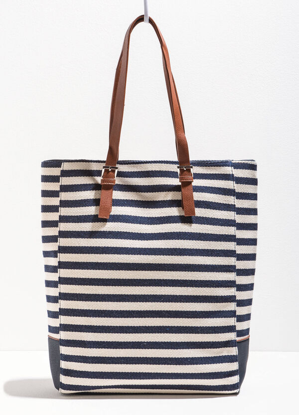 Striped cotton shopping bag | OVS