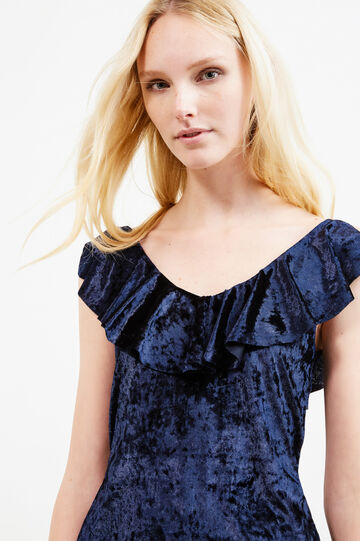 Sleeveless stretch chenille blouse, Navy Blue, hi-res