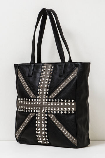 Shoulder bag with studs, Black, hi-res