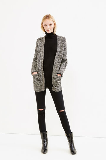 Long chunky knit cardigan, White/Black, hi-res