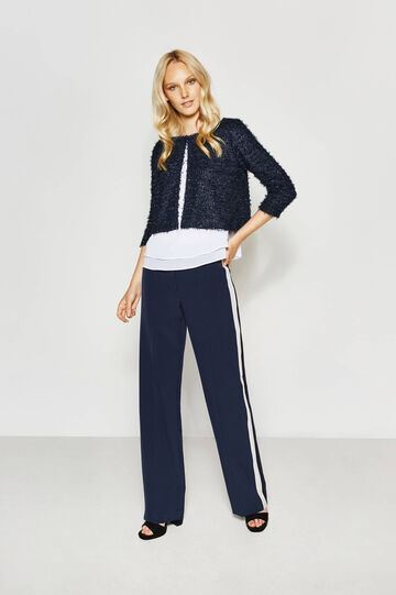 Crop cardigan with fringed lace