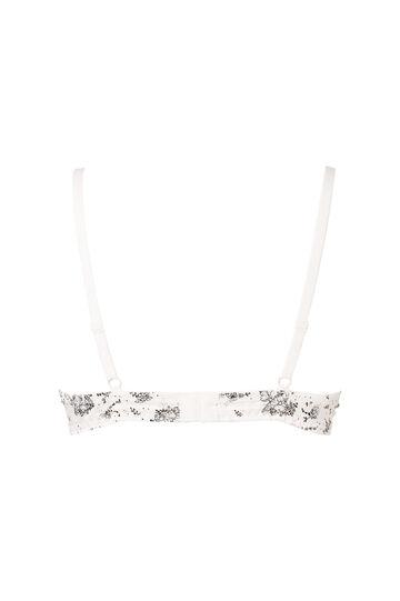 Push-up satin bra with print., Ivory White, hi-res