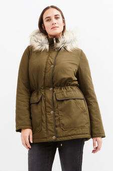 Curvy parka with fur, Army Green, hi-res