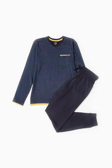 Cotton pyjamas with micro stripes, Navy Blue, hi-res
