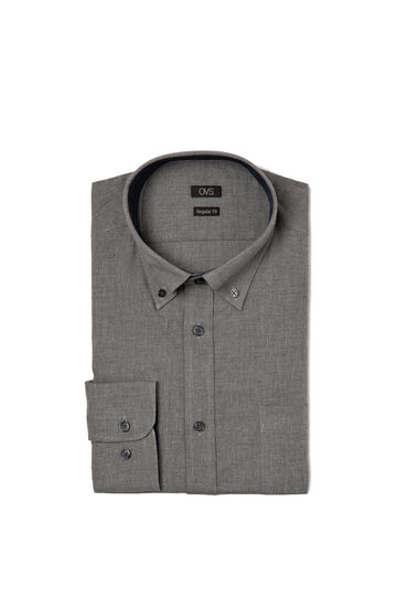 Regular-fit shirt in 100% cotton, Grey, hi-res