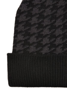 Hounds tooth beanie cap, Black, hi-res