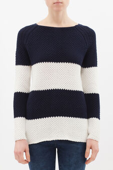 Chunky cotton blend pullover., White/Blue, hi-res