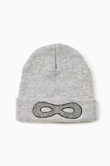 Embroidered beanie cap, Grey, hi-res
