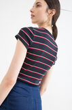 Cotton blend striped T-shirt with round neck, Navy Blue, hi-res