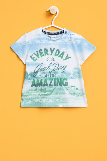 T-shirt with print and pattern, White/Light Blue, hi-res