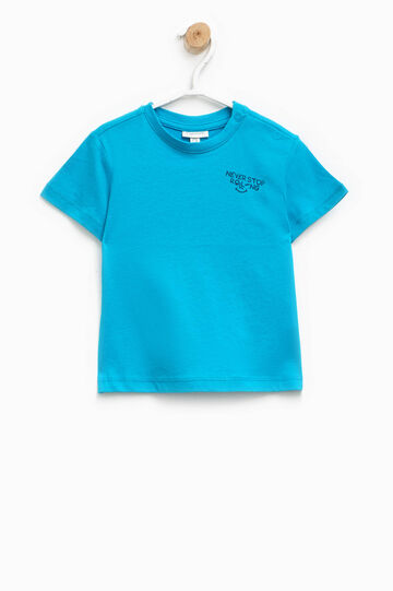 T-shirt in cotone con stampa, Blu royal, hi-res