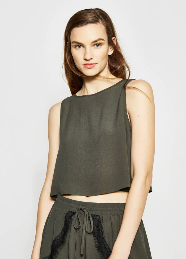Crop top with lace ties | OVS