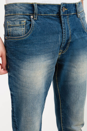Loose-fit, worn and bleached-effect jeans, Denim, hi-res