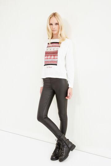 Printed sweatshirt in 100% cotton, Milky White, hi-res