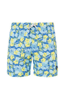 Swim boxer shorts with flower print by Maui and Sons, Cornflower Blue, hi-res