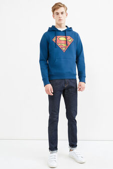 Cotton blend printed sweatshirt, Electric Blue, hi-res