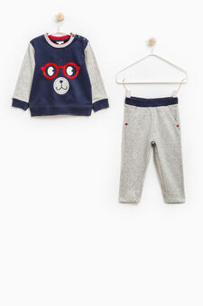 Tracksuit in 100% cotton with print, Navy Blue, hi-res
