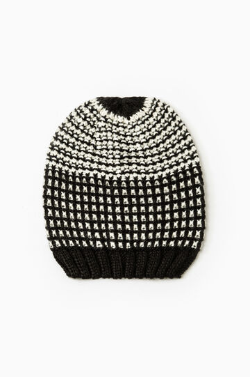 Knitted pattern beanie cap, White/Black, hi-res
