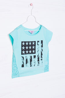 Cropped cotton T-shirt with lace, Aqua Blue, hi-res