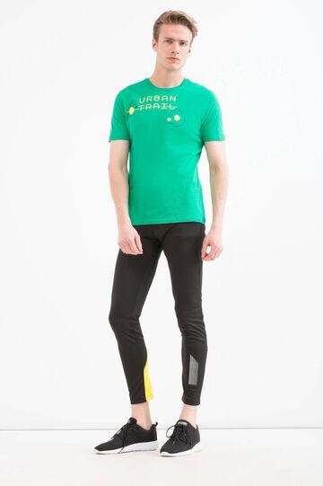 T-shirt sportiva puro cotone stampa, Verde, hi-res