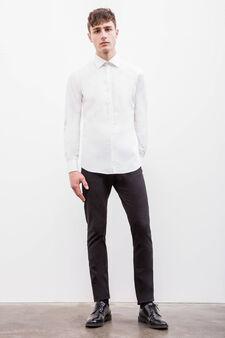 Solid colour slim fit formal shirt, White, hi-res