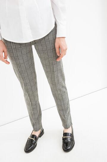 Pantaloni stretch fantasia a quadri, Nero/Grigio, hi-res