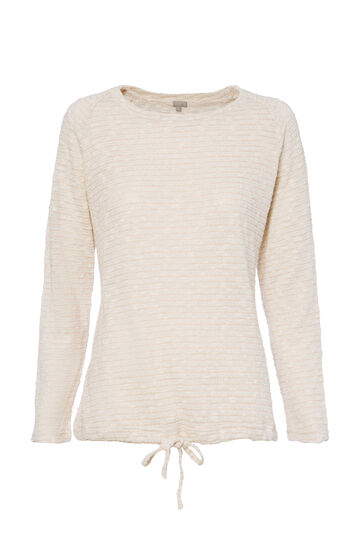 Smart Basic lurex and cotton T-shirt, Cream, hi-res