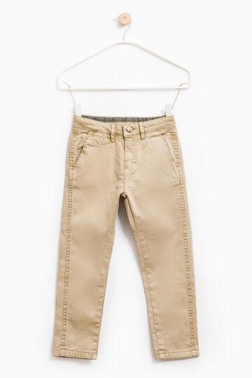 Pantaloni twill di cotone stretch, Sabbia, hi-res