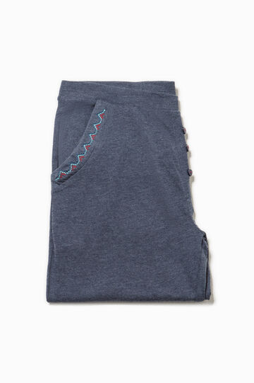 Pyjama trousers with pockets and embroidery, Navy Blue, hi-res