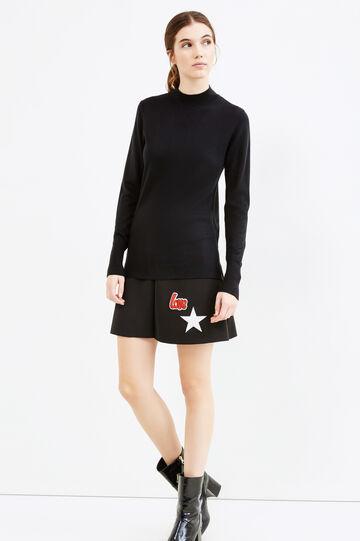 High neck ribbed pullover, Black, hi-res
