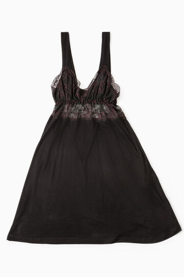 Sleeveless nightshirt with lace, Black, hi-res
